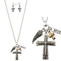 FAITH Cross Necklace with Angel Wing Charm & Cross Earrings Western Set