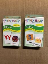 Brainy Baby Large Print 2 Pack Over Sized 123 & Abc 36 Picture Cards Each Pack