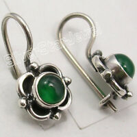 "925 Solid Silver Natural Green Onyx Dangle Earrings 0.7"" Ladies Stone Jewelry"