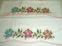 Vintge Pillow Cases Cross Stitch Flowers Pink Edge
