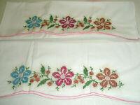 Vintge Pillow Cases Cross Stitch Flowers Pink Edge