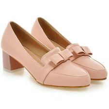Chunky Heels Women Brogue Bowknot Slip-on Mary Jane Candy Color Party Shoes Pump