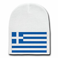 Greece World Country National Flag White Beanie Skull Cap Hat Winter New