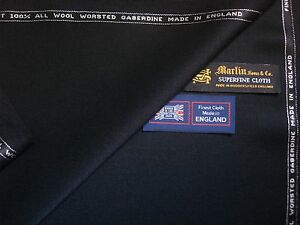 FINEST WOOL SUITING (GABERDINE) FABRIC IN BLACK = 425 g/m = By Martin Sons- 4 m