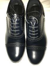 Emporio Armani Mens Leather Shoes Navy 7:41 New