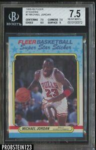 1988-89 Fleer Sticker #7 Michael Jordan Bulls BGS 7.5 NM+ HOF