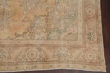 MUTED Geometric Antique Distressed Pale Peach Orange Tebriz Area Rug Wool 9x12
