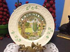 "🍀 Nice 8 1/2"" Belleek St. Patrick's Day 1992 Plate Shamrocks, Ireland 🍀"