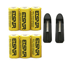 6pcs 16340 CR123A 3.7V 2800mAh Rechargeable Li-Ion Battery Batteries 2X charger