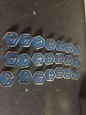 3 Vespa Hexagon Blue Horn Cover Badges Px125 Px200 T5 Lml