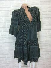 NEU Blogger Hängerchen Kleid Tunika Volant Print 36 38 40 42 Schwarz Grau K238