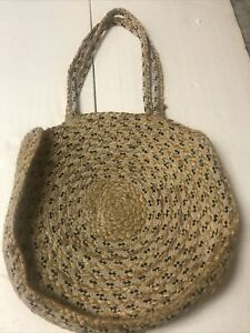 Carpet Purse Rug/Hand Woven Braided Wheel Shape Tote Bag Made in India Of Jute