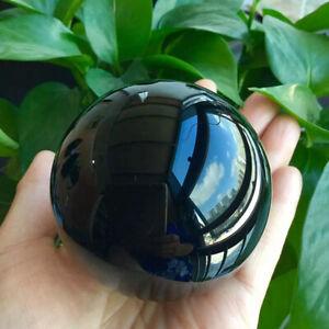 80mm Large Raw Natural Black Obsidian Quartz Ball Healing Crystal Sphere + Stand