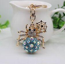 Blue spider  crystal Key chain Keyring Handbag Accessory Charm Pendant