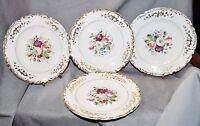 4 Teller Kuchenteller Dessertteller mit Blumendekor, handgemalt, Goldrand, 1900