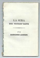 Libro La Sera del Venerdì Santo d'un Sacerdote Aretino Francesco Testi 1837