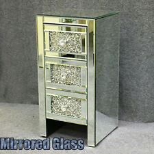 Mirrored Bedside Tables Cabinet 3 Drawers Side Table Diamante Crystal Nightstand