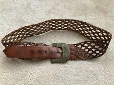 Ladies Brown Woven Real Leather Detail Belt - Size M