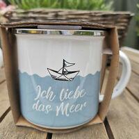 Maritim Schiff Ich liebe das Meer Boot Emaille Tasse 370ml Metall Kaffeebecher