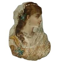 Victorian Scrap Vintage Die Cut LARGE Edwardian Young Lady Veil Lace Woman