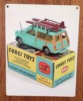 Corgi Toys Diecast Woodie Wagon Surf Surfboard Car Mini-Countryman Metal Sign