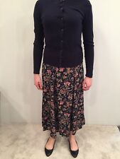 Laura Ashley Long Full Black Floral Skirt Pink Green Tea Length Garden Size 6