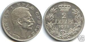 SERBIE PIERRE Ier 2 DINARA ARGENT 1915 !!!