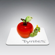 Eat Worm in Apple Tynies Tiny Glass Figure Figurine Collectible 0063