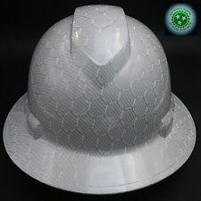 FULL BRIM Hard Hat custom hydro dipped , NEW WHITE HEX CARBON FIBER  HOT