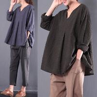 Women Cotton Long Sleeve Plaid Check Shirt Tops V Neck Loose Jumper Blouse Plus