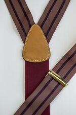 Trafalgar Brown Maroon Stripe Grosgrain Button Suspenders Braces Leather Brass