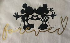 Ladies Disney Mickey & Minnie Mouse Silhouette 'Forever' T-Shirt/Top/Tee ~ UK 12
