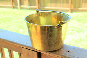 ANTIQUE BRASS 2 GALLON BUCKET PAIL WITH WROUGHT IRON HANDLE