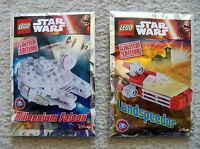 LEGO Star Wars - Rare - 911607 Millenium Falcon & 911608 Landspeeder Foil Packs