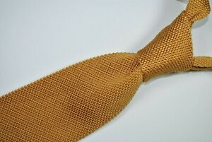BROOKS BROTHERS SQUARE END SKINNY Tie 100% Silk Gold Color L57 W2.7