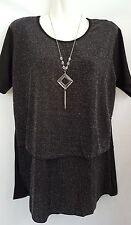BNWT - 'ELEGANT' - Layered Tops w Silver - In Black or Blue, Sizes M, L, XL, XXL