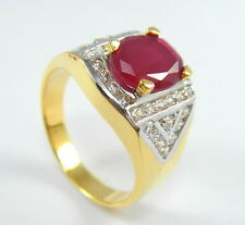 NICE! RUBY COLOR CZ 4.5 CT Size 11.5 Ring 24K 22K Gold GP Jewelry GT21