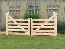 Wooden hook style gates .Double Swing, Country, Driveway, Farm, Entrance Gate