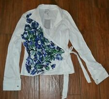 SPIRIT Coldwater Creek Hand-Finished Details Size 4 Wrap Blouse Shirt White $99