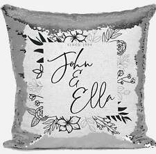 Personalised Floral Any Name Magic Reveal Silver Sequin Cushion Cover Gift 6