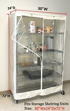 """Storage Shelving unit cover, racks 30""""Wx24""""Dx72""""H one side clear(cover only)"""