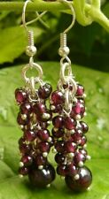 "Natural Garnet Gemstone Earrings Dangle Beaded Cluster 2 1/4"" long"