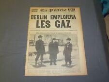 1941 JANUARY 25 LA PATRIE NEWSPAPER - FRENCH - BERLIN EMPLOIERA LES GAZ- FR 1989