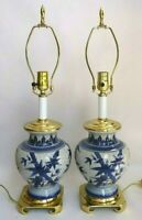 """Pair Chinese Porcelain Ginger Jar Table Lamps With 3-Way Lights 24"""" Tall"""