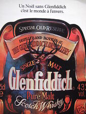 PUBLICITÉ 1987 GLENFIDDICH PURE MALT SCOTCH WHISKY - ADVERTISING