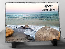 Personalized BEACH shore ocean waves PHOTO SLATE PLAQUE Sympathy Memorial gift