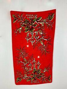 Vintage Red Christmas Dish Tea Towel Linen Noel Street Lamps Holly Pine Cones