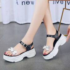 Ladies Open Toe Platform Rhinestone Sports Sandals Ankle Strap Summer Shoes Size