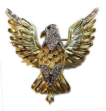 SPILLA ORO GIALLO DIAMANTI AQUILA NUOVA BROOCH EAGLE GOLD DIAMONDS NEW