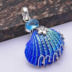 "Titanium Shell Blue Opal Ethnic Handmade Pendant Jewelry 2.48"" AP 41311"